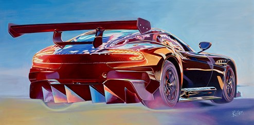 2015 Aston Martin Vulcan by Roz Wilson - Varnished Original Painting on Stretched Canvas